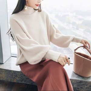 Sweaters - White Puffy Sleeve Turtleneck Ribbed Sweater, OS